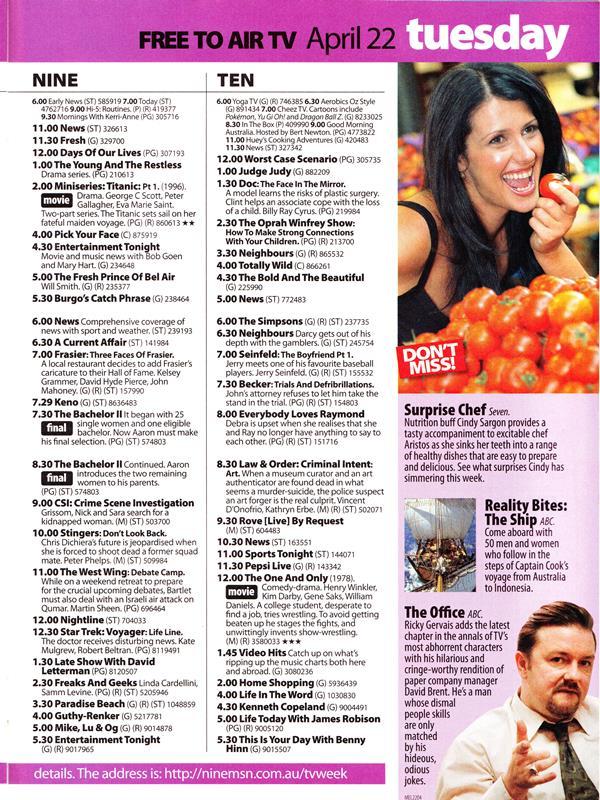 Classic TV Listings - TV History - Media Spy